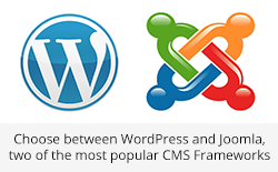 Choose Between Wordpress and Joomla, two of the most popular CMS Frameworks.